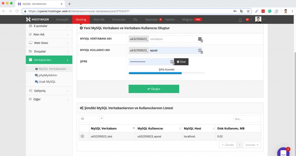 WordPress Veritabanı nedir: Hostinger kontrol panelinde MySQL veritabanı kısmı.