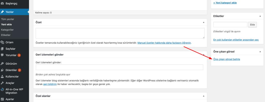 WordPress öne çıkarılmış görsek ekleme.