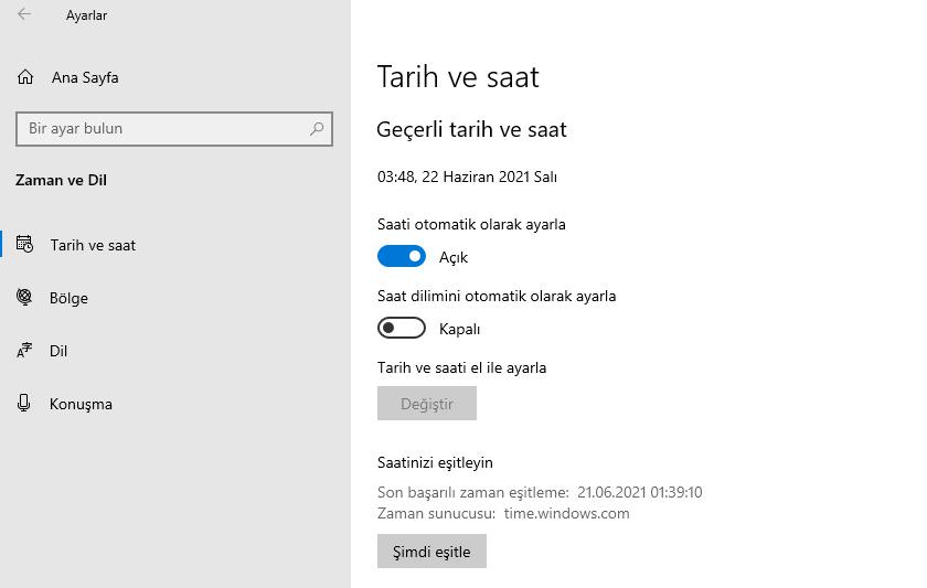 Windows Tarih ve Saat