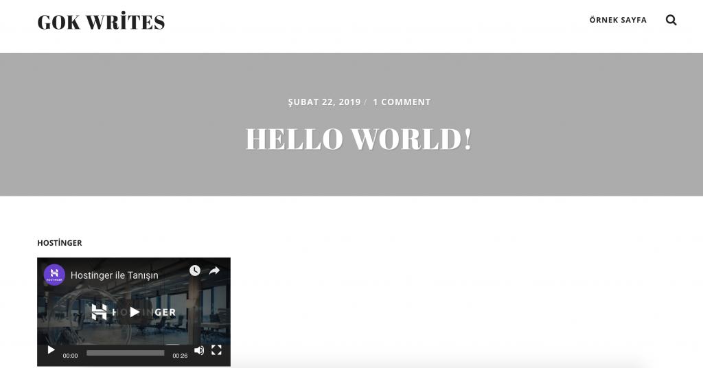 Sitenin alt bilgisinde görüntülenen video