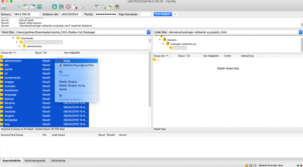 FileZilla FTP istemcisi aracılığıyla Joomla kurulum dosyalarını karşıya yükleme