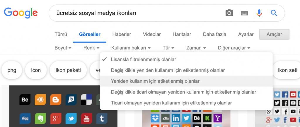 Google Görsel Arama'yı yeniden kullanım için etiketlenmiş olanlar için filtreleme