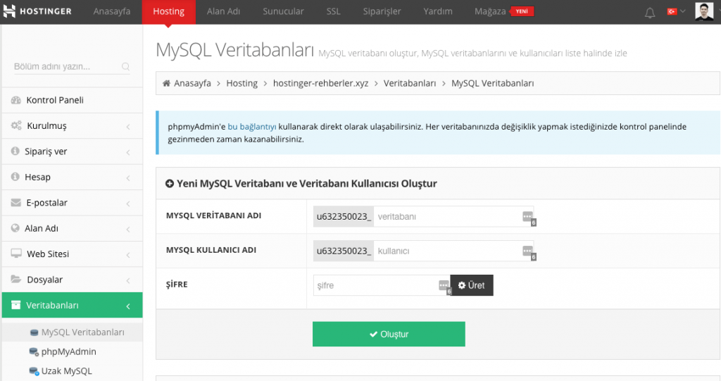 Hostinger'ın kontrol panelinideki MySQL Veritabanları