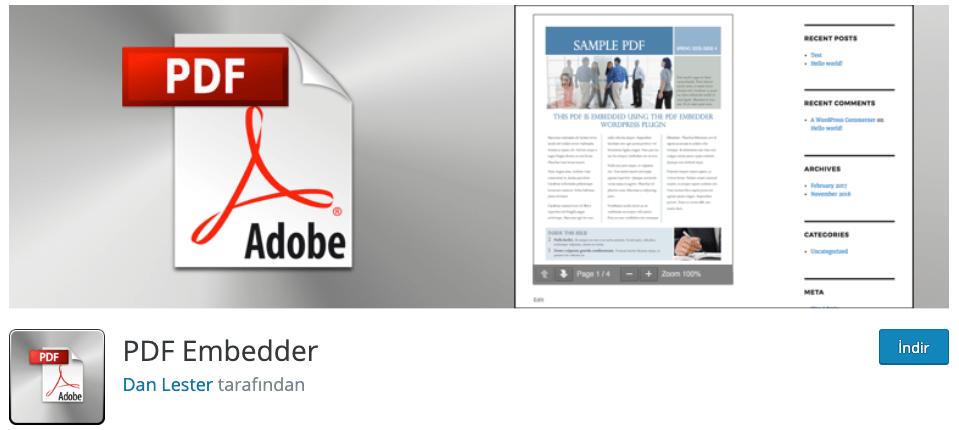 PDF Embedder WordPress PDF Eklentisi