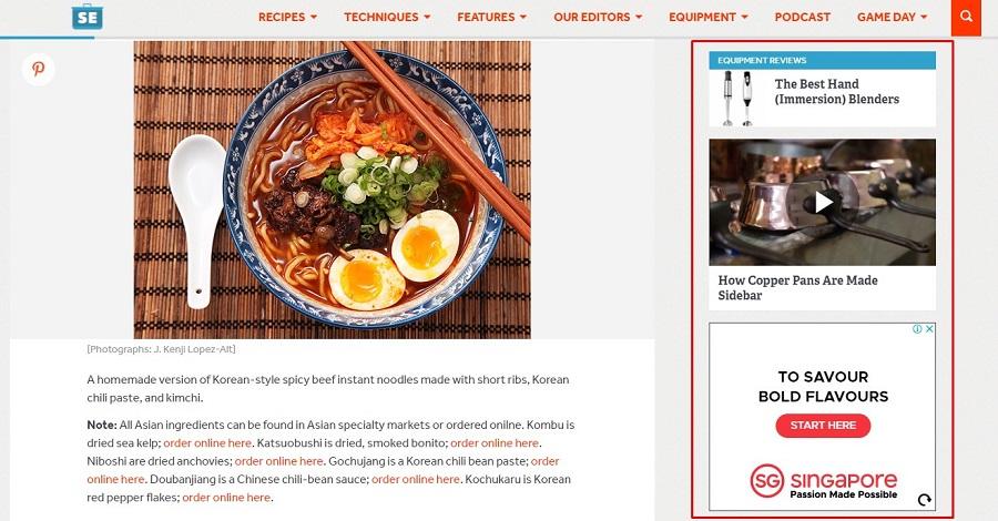 Serious Eats web sitesi Sidebarları