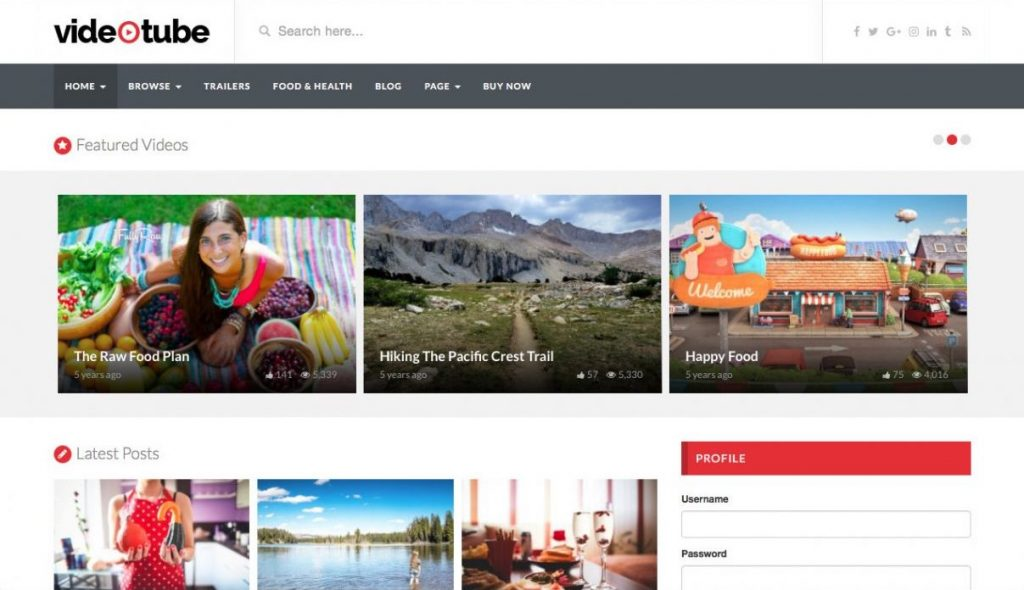 VideoTube WordPress Video Teması