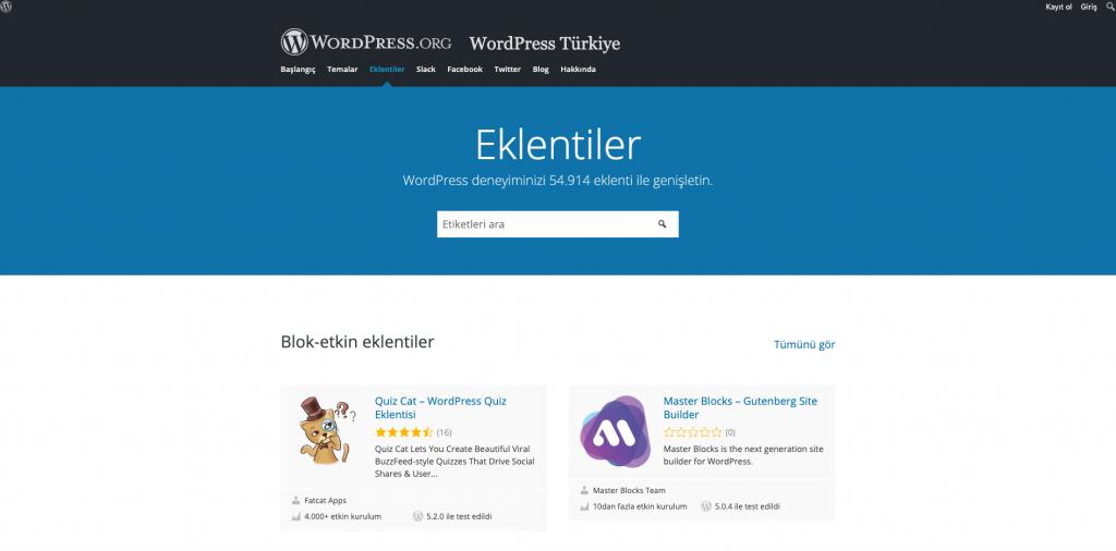 WordPress plugin nedir : WordPress eklenti dizini ana sayfası