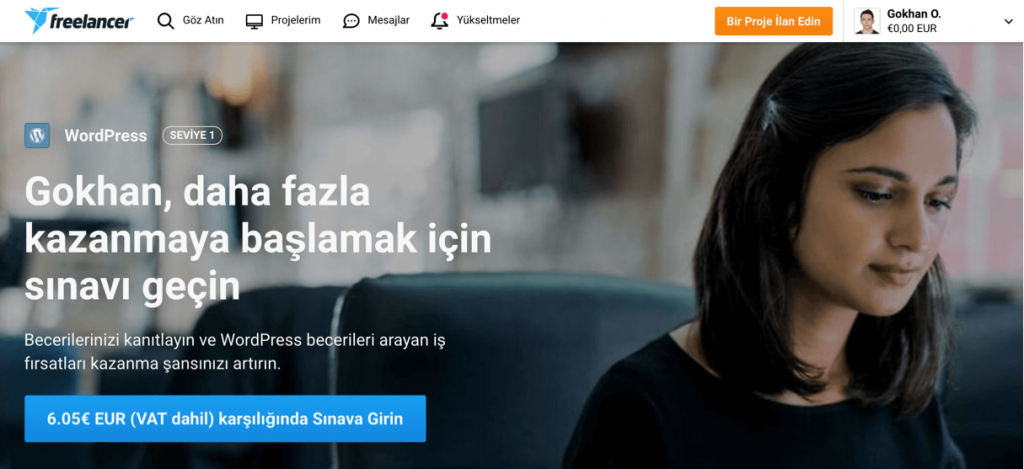 Freelancer.com'daki WordPress testi