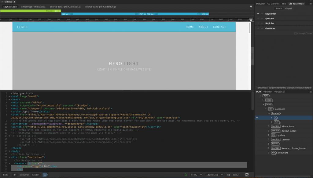 Dreamweaver çalışma alanında tek sayfa site