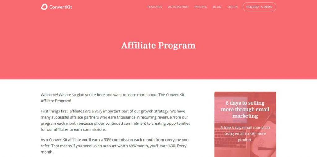 ConvertKit satış ortaklığı sitesi ana sayfa örneği