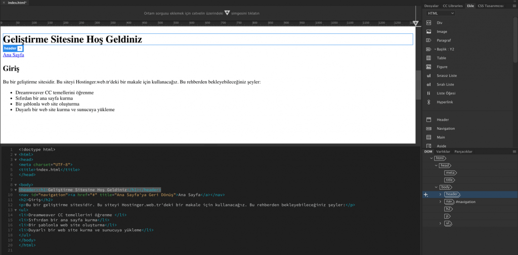 CSS elementini ekleme için header'ı işaretlemek