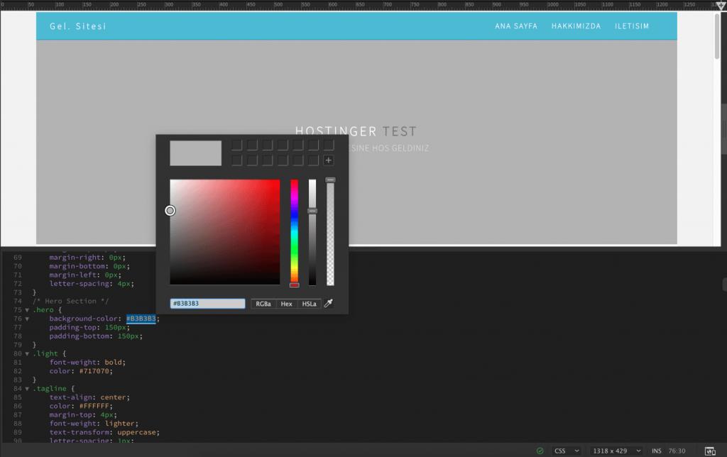 Dreamweaver yerleşik renk seçicisi