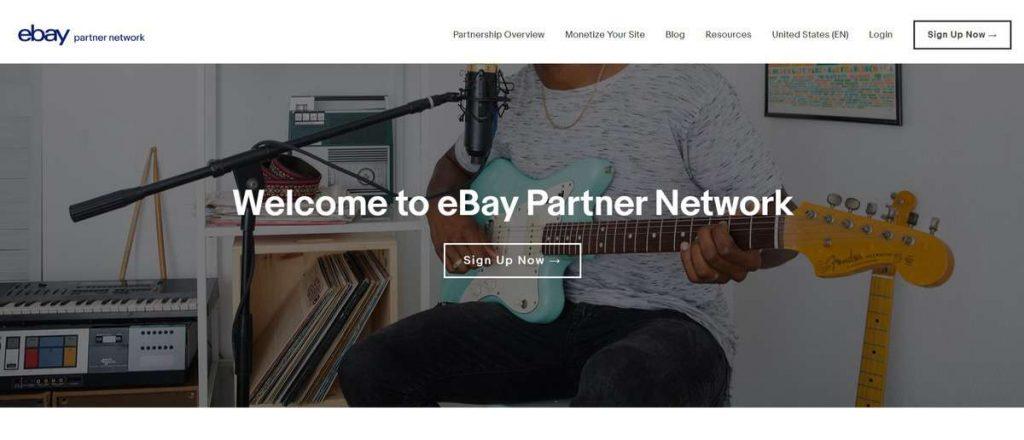 eBay Partner Network satış ortaklığı sitesi iniş sayfası