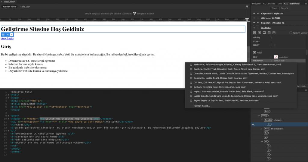 Dreamweaver'da kullanabileceğiniz birçok font seçeneği