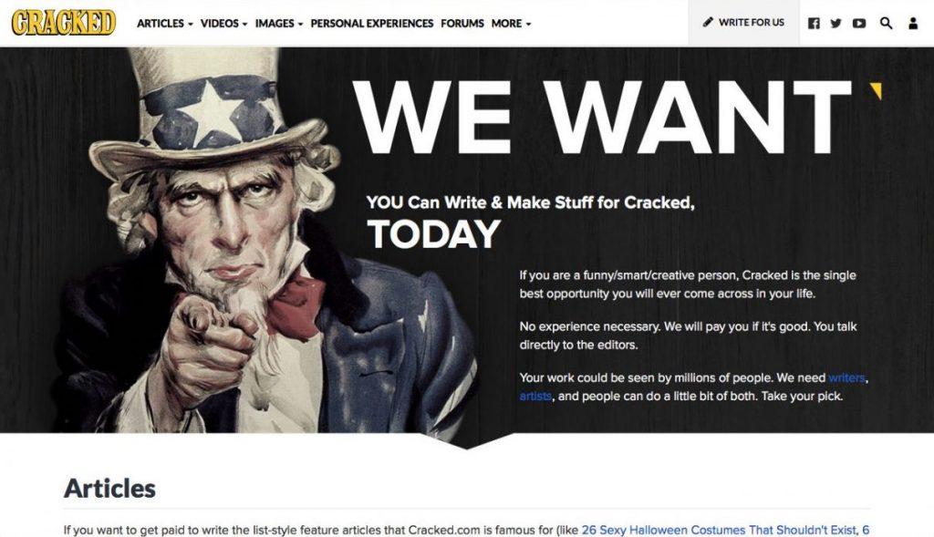 Cracked.com Freelance Yazarlar İçin Fırsatlar Sunar