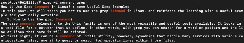 Linux terminalinde yapılan grep komutu sorgusunun sonucu