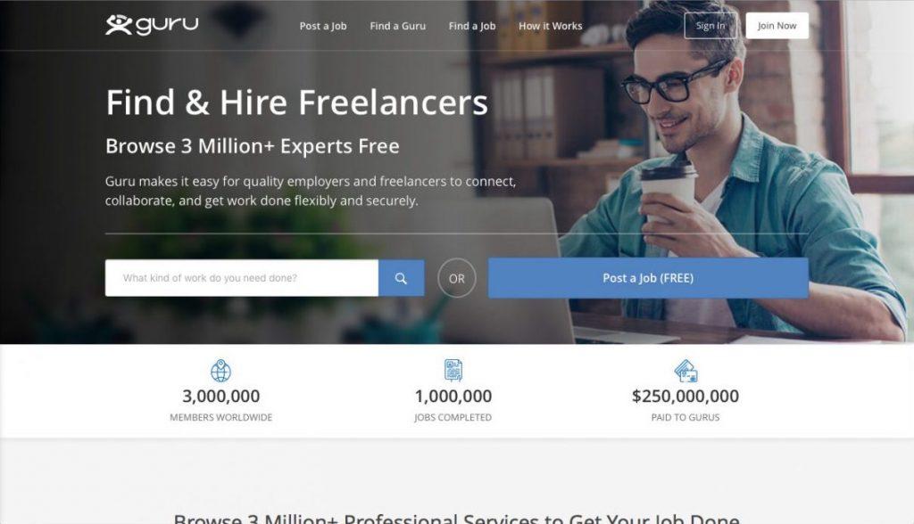 Guru web geliştiriciler için Freelance işler sunar