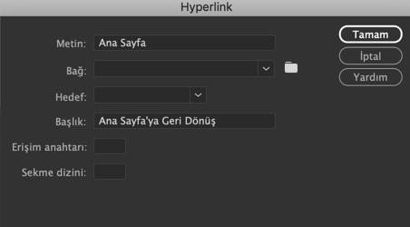 Hyperlink bilgilerini girme