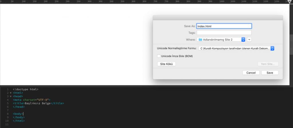 Index.html dosyasını sitenizin klasörüne kaydetme
