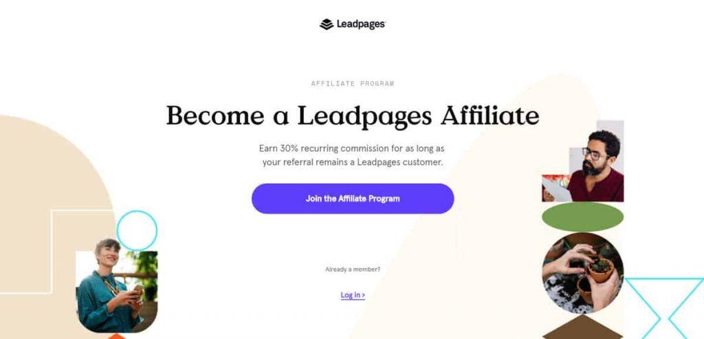 Leadpages ortaklık sitesi başvuru sayfası örneği