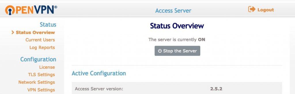 OpenVPN ana yönetici kontrol paneli