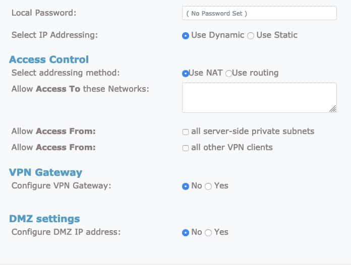 OpenVPN gelişmiş ayarlar sekmesi