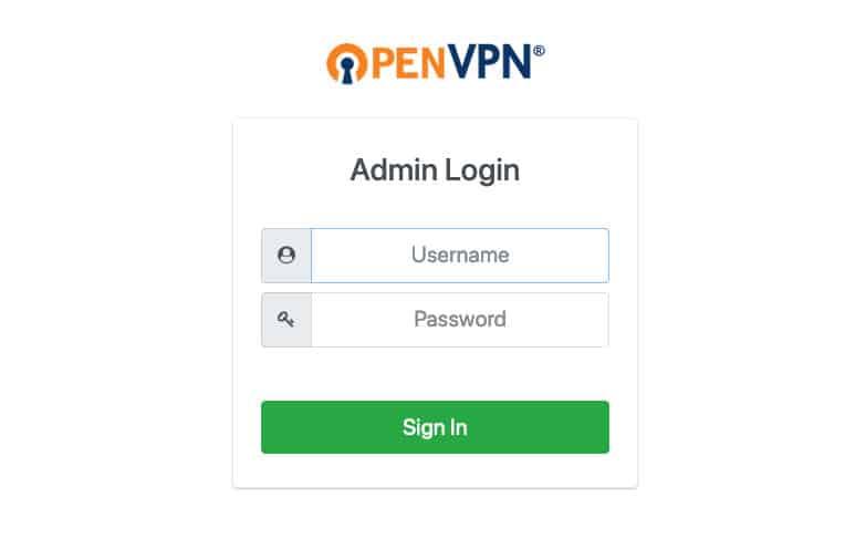 OpenVPN istemci giriş ekranı