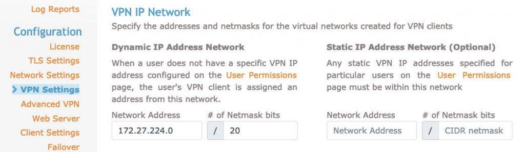 OpenVPN web istemci ayarları sekmesi