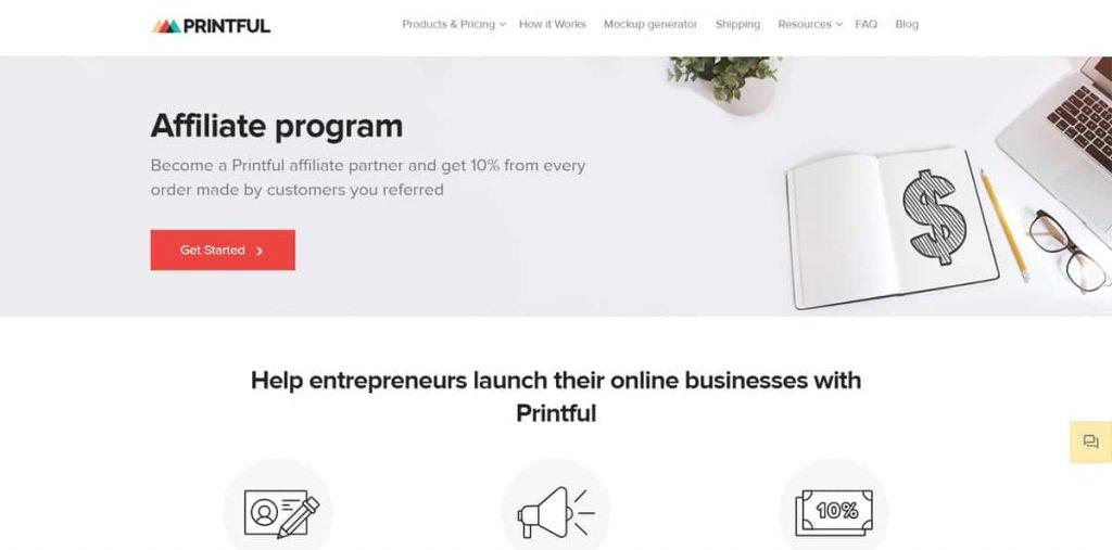 Printful ortaklık iniş sayfası