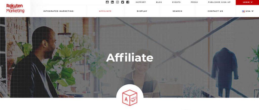 Rakuten LinkShare ortaklık iniş sayfası örneği