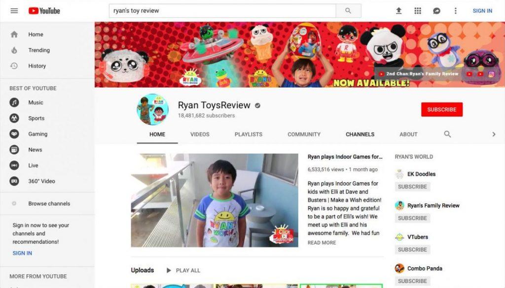 Ryan ToysReview en çok para kazanan YouTube kanalıdır