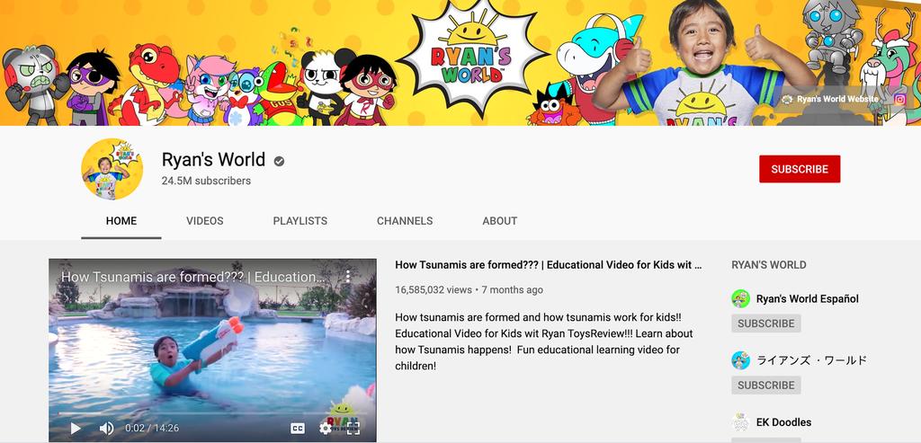 Ryan's World YouTube kanalı