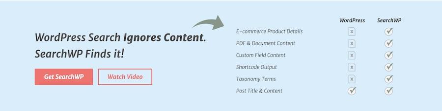 searchwp wordpress arama eklentisi En İyi 5 WordPress Arama Eklentisi