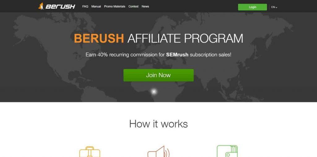 SemRush ortaklık sitesi iniş sayfası