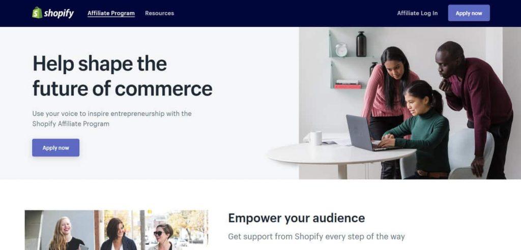 Shopify satış ortaklığı sitesi başvuru sayfası