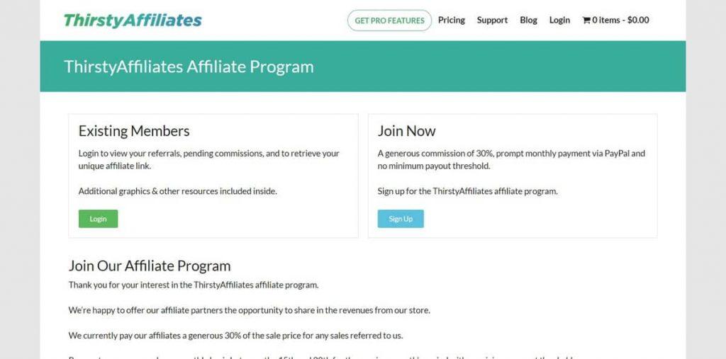 ThirstyAffiliates satış ortaklığı programının iniş sayfası