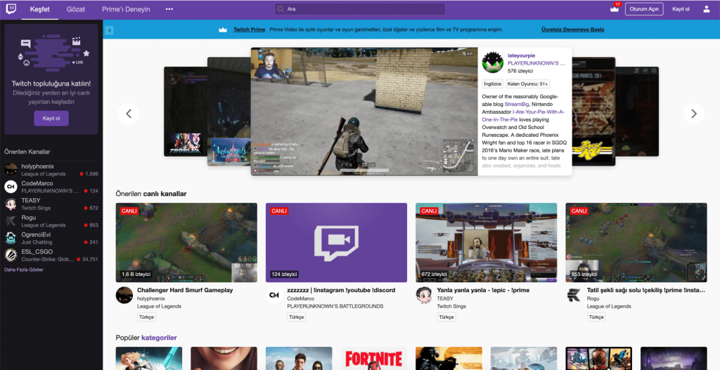 Oyuncular için Yayın Platformu Twitch