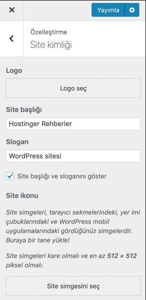 WordPress özelleştirici WordPress Favicon Ekleme