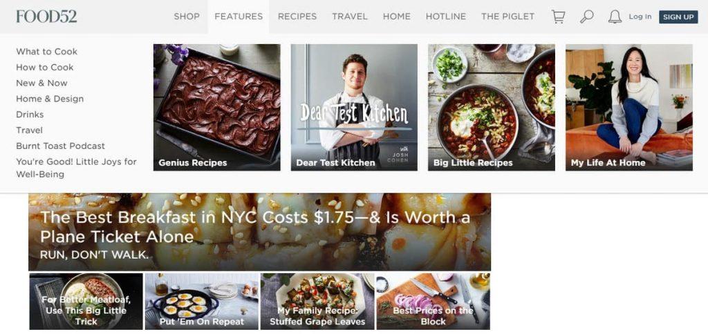 Food52 Yemek Tarifleri Blogu Ana Sayfası