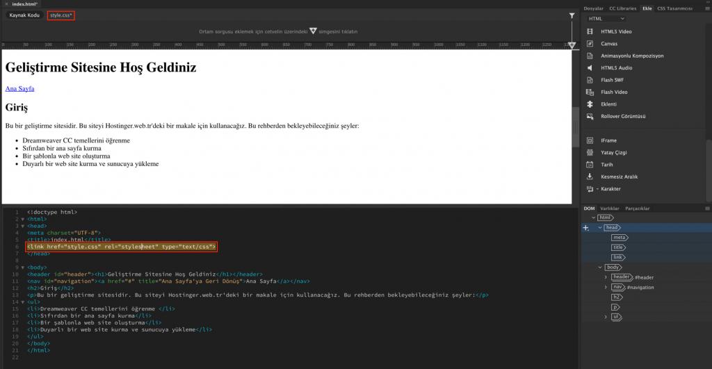 Çalışma alanında oluşturulmuş yeni CSS dosyası