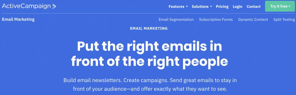 ActiveCampaign e posta pazarlama hizmeti iniş sayfası