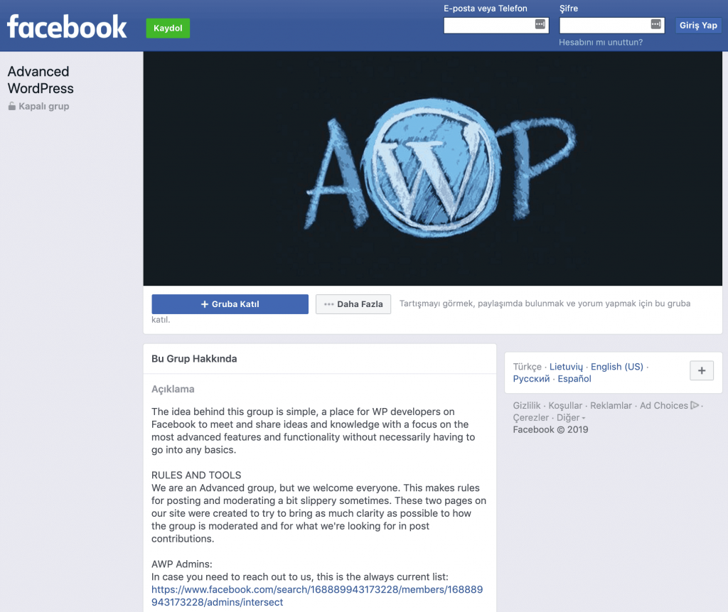 AWP (Advanced WordPress) Facebook grubu