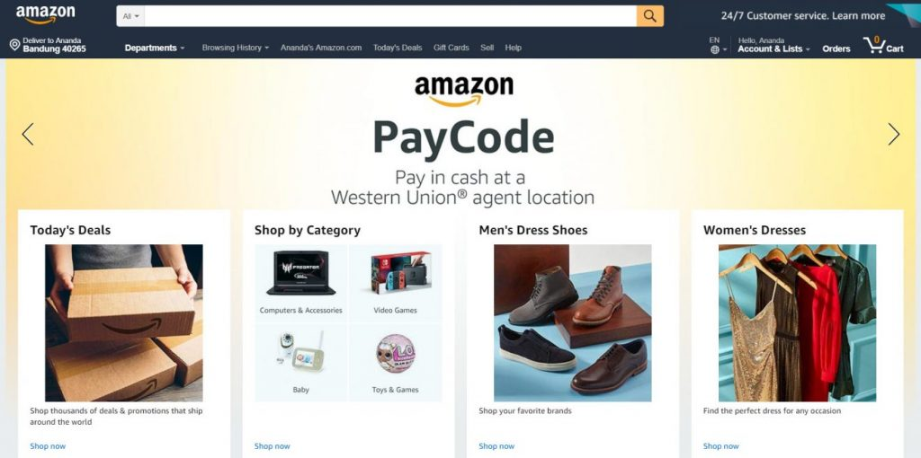 A/B testi: Amazon.com ana sayfası