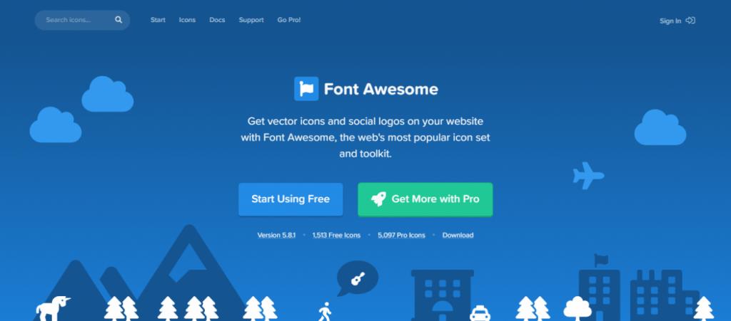 Font Awesome sitesinin ana sayfası