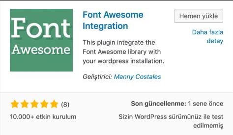 Font Awesome Integration eklentisi