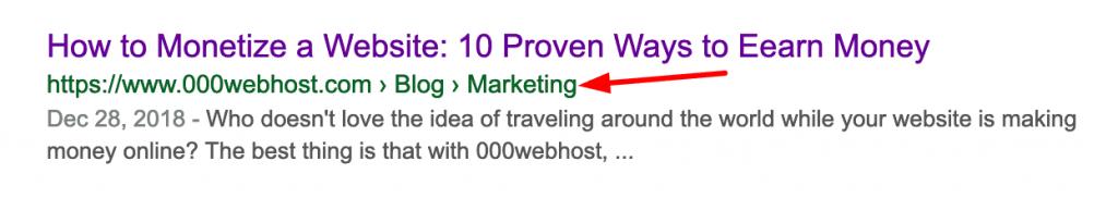 Google aramalarında WordPress breadcrumbs örneği