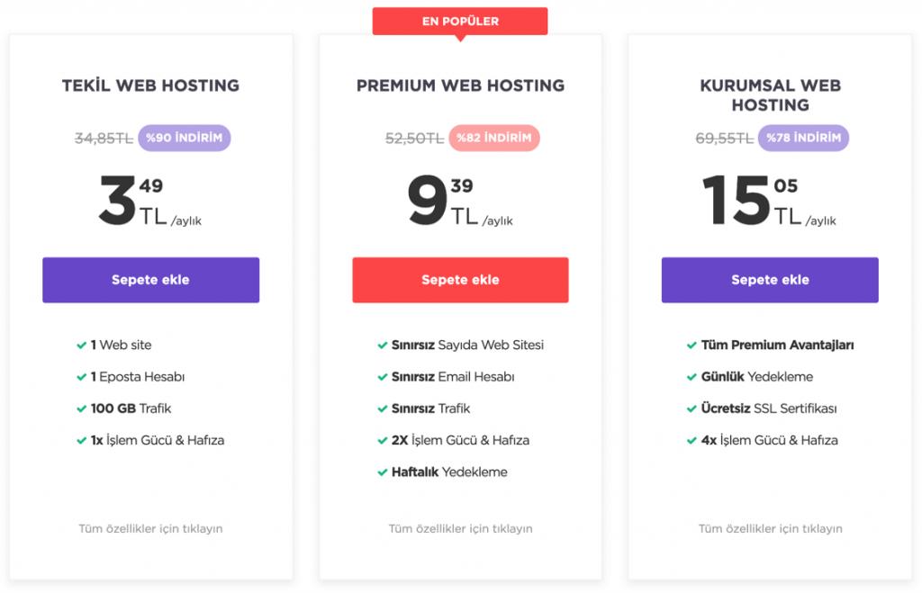 Hostinger paylaşımlı hosting planları