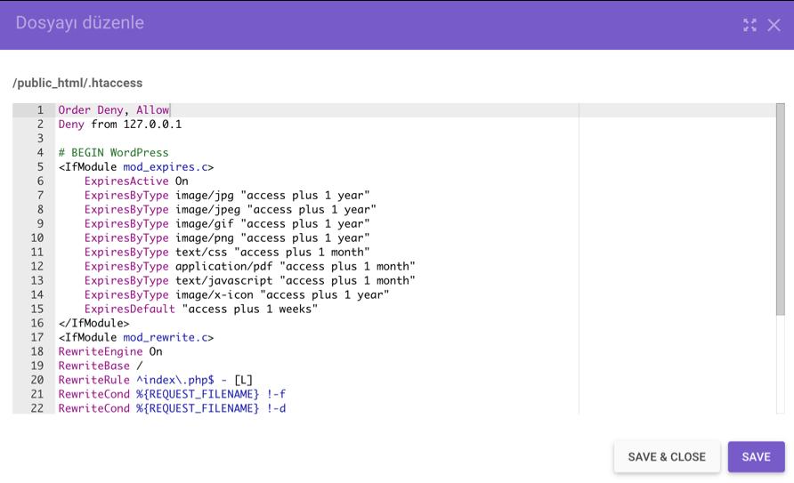 .htaccess dosyasına eklenen kod