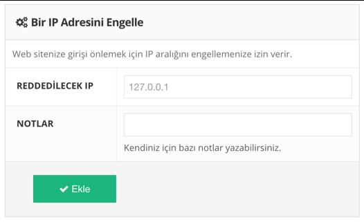 IP engelleme özelliği