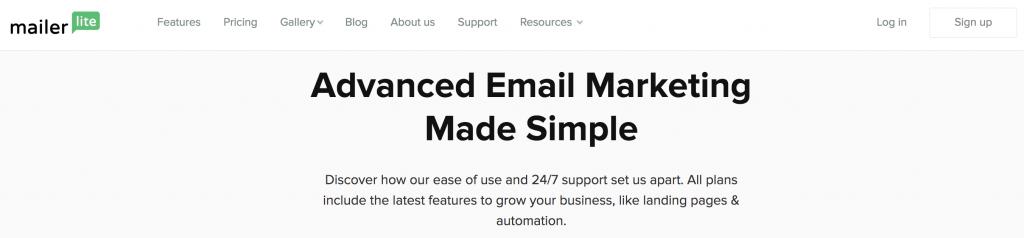 MailerLite e posta pazarlama hizmeti iniş sayfası